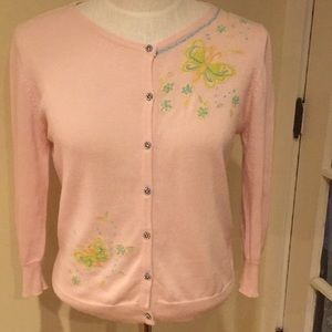 Free People Butterfly Embroidered Cardigan